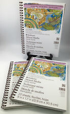"""Lot Of 3 STRATHMORE WATERCOLOR VISUAL JOURNAL (140 LB.) 9 """" X 12"""", 22 PAGES"""