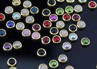 200 4mm Gold Rim Edge Flat Back Pearls Rhinestone Face Gems Card Making Embelish