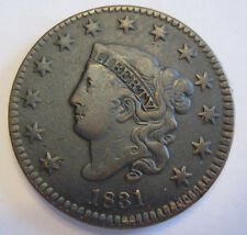 1831 Coronet Large cent collector coin grades extra fine  (#415x)