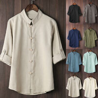 Men Classic Chinese Style Kung Fu Shirt Tops Tang Suit 3/4 Sleeve Casual Blouse