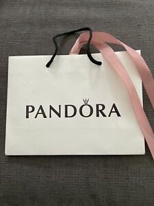 "Pandora Pink Ribbon Black Handle Gift Bag 6"" x 6"" x 2"" EUC"