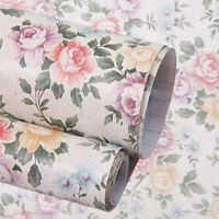 Retro Floral Contact Paper Self Adhesive Wallpaper PVC Drawer Shelf Liner Cover