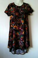 WOMEN'S LULAROE CARLY MULTI-COLOR FLORAL HI LO STRETCHY DRESS WITH POCKET SIZE S