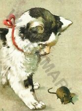 ART CATS AT PLAY 1903 CAT MOUSE WALL ART PRINT POSTER LF3510