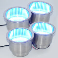 4PCS Stainless Steel Cup Drink Holder Blue LED For Marine Boat Truck Universal