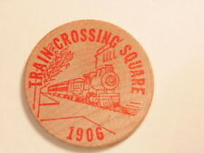 1969 wooden nickel:Shippensburg, PA coin show  / rev. early train (red print)