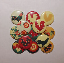 """20 Country Rooster 1"""" flat back Buttons."""