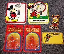 Lot Vintage Mickey Mouse Items GLOW Light Switch Bike Plate & MORE Walt Disney