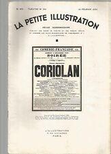 LA PETITE ILLUSTRATION N°341 - CORIOLAN DE SHAKERPEARE