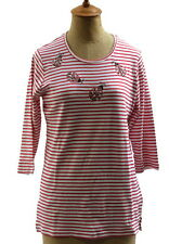 Quacker Factory Women's Red White Stripe Beaded Ladybug Shirt Size XXS NWT