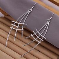 ASAMO Damen Gitter Ohrhänger Ohrringe 925 Sterling Silber plattiert O1177