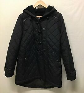 Next Ladies Coat Diamond Quilted Padded Black Winter With Hood. Size 16 (002)