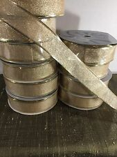 "1.5"" WIRED GOLD METALLIC CHRISTMAS RIBBON 50 YARD ROLLS #5641"