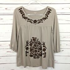 Garnet Hill Small Top Tan Embroidered Floral 3/4 Sleeve Cotton Shirt Boho Brown
