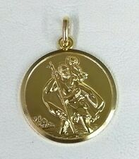 Large Heavy 9ct Yellow Gold Hallmarked Saint Christopher Pendant Medallion