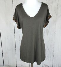 J.Lo Jennifer Lopez Knit Beaded V Neck Top Medium Gray Short Sleeve Open Back