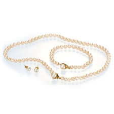"""Pili Pala 18"""" Pearl Necklace Freshwater Womens Jewellery Gold Plated Set NEW"""
