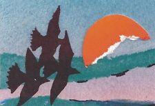 "ACEO  ""Three Birds"" Miniature Original Silkscreen Collage by Mary Goslen"
