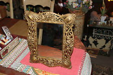 Vintage Victorian Art Deco Personal Mirror W/Gold Metal Scroll Floral Design