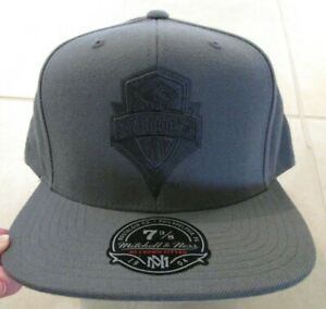 NEW Seattle Sounders Fitted Hat Cap Mitchell & Ness 7 3/8 Grey MLS Soccer