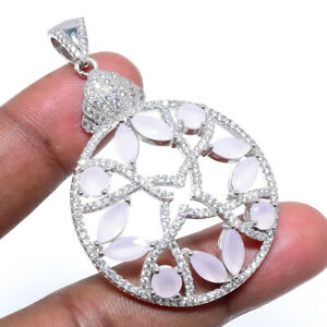 """African Pink Chalcedony & White Topaz 925 Sterling Silver Pendant 2.17"""" T8656"""