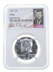 1964 PF66 Proof Kennedy Half Dollar NGC Graded - White Coin Spot Free PR *0037