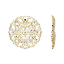 1728FY Charm Link Gold ptd Brass 22mm Filigree Round Flower 22mm, 24 Qty