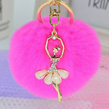 Rabbit Fur Ball PomPom Cell Phone Car Keychain Pendant Handbag Charm Key Ring