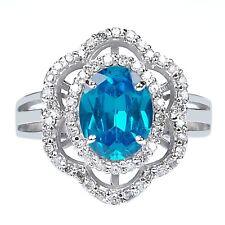 585er WeißGold 1,95Kt Natürlicher Blauer Topas EGL Zertifizierter Diamant ring