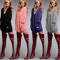 UK 8-22 Autumn Women V Neck Long Sleeve Top Casual Blouse Loose Shirt Mini Dress