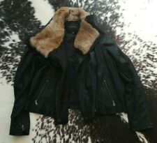 LA FEE VERTE Rabbit Fur Collar & 100% Suede Leather Funnel Neck BIKER Rick Owens