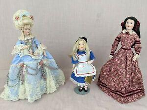 Lot of 3 Franklin Heirloom Dolls - Marie Antoinette, Little Women Beth, Alice