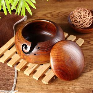 Wooden Yarn Bowl Wood Crochet Knitting Wool Tool Holder Organizer Storage Bowls