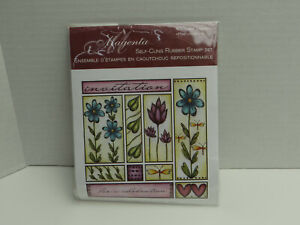 Magenta Self Cling Rubber Stamp Set Invitation New Flowers Dragonfly Leaves