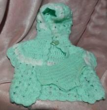 "Vtg Baby Doll Set, Crocheted Hooded Sweater N Pants, Jadeite Green, 14"" To 16"""