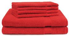 Betz Juego de toallas de 6 piezas PREMIUM 100% algodón de color rojo