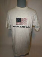 Vintage 90s Guess Jeans Usa Flag Spell out Logo Short Sleeve Shirt Xl 1996 Grey