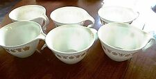 "6 Vintage Retired Corelle ""Gold Butterfly"" Stackable Hook Handle Mugs Cups"