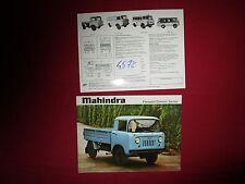 N°4578  /  MAHINDRA Forward Control Series platform : prospectus english text
