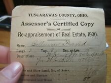 1900 REAL ESTATE FORM FROM TUSCARAWAS COUNTY OHIO!!!!!!!!!-IN GREAT SHAPE!!!!!