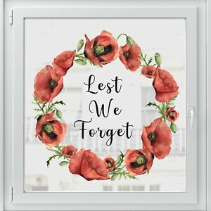 Dizzy Duck Lest We Forget Sticker - Remembrance Day Poppy Wreath Window Decal
