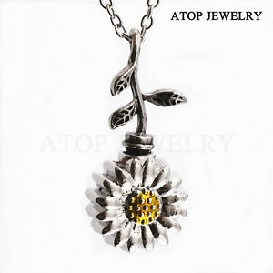 NEW Sunflower Urn Necklace for Ashes Cremation Memorial Jewelry Keepsake Locket