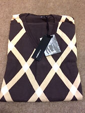 Peter Werth Retro Argyle Knit Jumper With Plain Sleeves/Brown - Large (4)