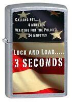 Zippo Lighter: Second Amendment, American Flag - Street Chrome 76581