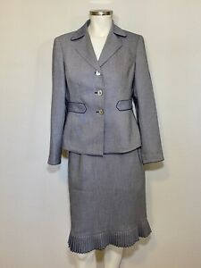 Kasper Womens 2-Piece Suit Pleated Skirt Gray EUC Sz 4P Mother of Pearl #428