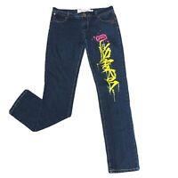 Ecko Red Denim Women's Size 7/8 Jeans Blue Straight Mid Rise Graffiti Graphics