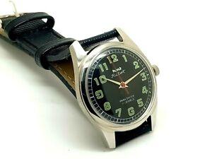hmt pilot hand winding men steel black dial 17jwl vintage parashock india watch