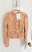 Ladies Zara Limited Edition Jacquard Cropped High Neck Jacket Beige/Pink M BNWT