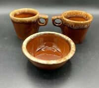 Hull USA Brown Drip Glaze Pottery Oven Proof Coffee Mugs Cups Bowl set