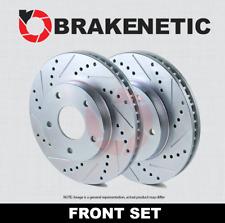 FRONT SET BRAKENETIC PREMIUM Cross DRILLED Brake Disc Rotors 4WD BNP65012.CD